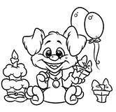 Birthday Puppy coloring pages Royalty Free Stock Image