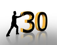Birthday Pushing 30 3D Graphic. 3D Illustration of man pushing numbers for Birthday card or background Stock Photos