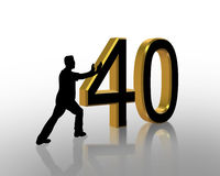 Birthday Pushing 40 3D Graphic. 3D Illustration of man pushing numbers for Birthday card or background Royalty Free Stock Photos