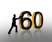 Birthday Pushing 60 3D Graphic. 3D Illustration of man pushing numbers for Birthday card or background Royalty Free Stock Photo