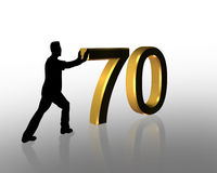 Birthday Pushing 70 3D Graphic. 3D Illustration of man pushing numbers for Birthday card or background Stock Photo