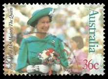 Birthday of Queen Elizabeth. Australia - stamp printed in1987, Head of States, Queens, 61 Birthday of Queen Elizabeth 2nd stock illustration