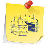 Birthday reminder sticky note Royalty Free Stock Images