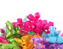 Birthday ribbon. Happy birthday ribbon closeup, isolated on white Stock Photography