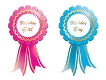 Birthday rosettes Stock Image