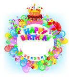 Birthday round bright banner with place for text Royalty Free Stock Images