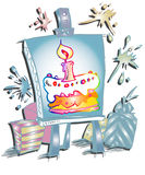 Happy Birthday Candle Cake Cartoon Stock Photos