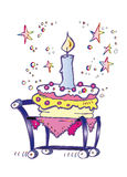 Happy Birthday Candle Cake Cartoon Stock Photography