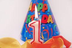 Birthday scene 4. Birthday scene - lit candle Royalty Free Stock Image