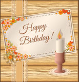 Birthday scrapbooking card with candle Royalty Free Stock Photos