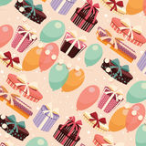 Birthday seamless background with presents and balloons Stock Image
