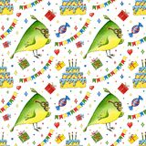 Birthday seamless pattern with bird, gifts, cake and flags. Watercolor cartoon hero for party. Hand drawn  background