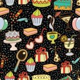 Birthday Seamless Pattern. Black background. Eps8 Stock Photos