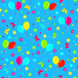 Birthday seamless,pattern.colorful balls,butterfly and flower Royalty Free Stock Photography