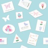 Birthday seamless pattern with cute postage stamps. Vector Stock Images