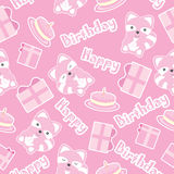 Birthday seamless pattern with cute raccoons, birthday gifts, and cakes. Suitable for birthday wallpaper, scrap paper and invitation card Stock Photography