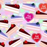 Birthday seamless pattern design Sweet cake decorated with fresh berry, pink cream and chocolate icing, piece of cake, heart, past Stock Photo