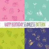 Birthday seamless pattern with hand drawing elements Stock Image