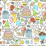 Birthday seamless pattern. Hand drawn background. Vector illustration Royalty Free Stock Photography