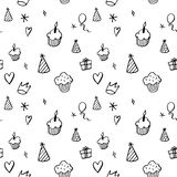 Birthday seamless pattern in hand drawn style. Hand drawn seamless pattern with cupcakes, balloons, gift boxes etc in black and white Royalty Free Stock Images