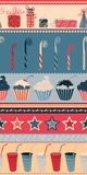 Birthday seamless pattern. Ornate retro pattern with birthday elements. Can be used for wrapping paper Stock Photo