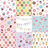 Birthday seamless pattern set with sweets. Royalty Free Stock Image