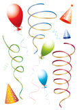Birthday set. Of ribbons, balloons and hats,  illustration Stock Photography