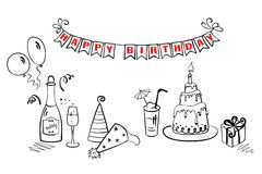 Birthday set. Set of objects for fun birthday party stock illustration