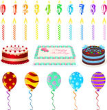 Birthday Set. Illustration set of birthday candles, cakes and balloons Stock Image