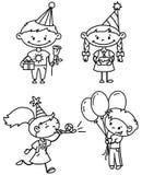 Birthday set. Children birthday set (outline version Royalty Free Illustration