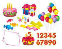 Birthday set. Celebration set: a cake with candles, gift boxes, balloons, candy, stars, ribbons, paper, figures for dates Stock Photography