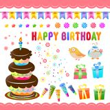 Birthday set. There is birthday set and birds Royalty Free Stock Photo