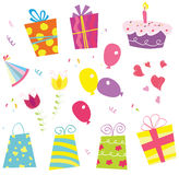 Birthday set. Birthday party can begin! Royalty Free Stock Photos