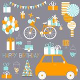 Birthday set with car, gifts, cake, sweets, balloons. Vector il. Birthday set with car and gifts. Happy Birthday card Vector illustration royalty free illustration