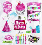 Birthday Set. Set of birthday element drawing watercolor on crumpled paper Stock Photography