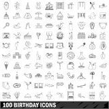 100 birthday icons set, outline style. 100 birthday set in outline style for any design illustration stock illustration