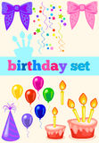 Birthday set with ribbons. birthday cap, cake, balloons Royalty Free Stock Image