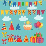Birthday Set. Set of vector birthday party elements. Eps 10 vector illustration