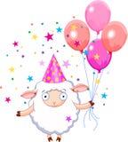 Birthday sheep. Sheep  holding balloons, smiling. Vector illustration Stock Image