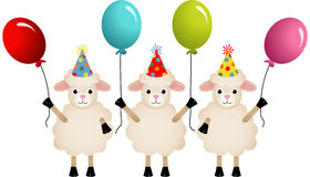 Birthday sheeps with balloons Stock Image