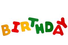 Birthday sign. A colorful sign to use for birthday celebration royalty free stock photography