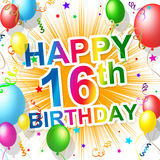 Birthday Sixteenth Represents Celebration Greeting And Congratulations Royalty Free Stock Image