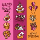 Birthday sketch banner set. Birthday party celebration sketch decorative colored vertical banner set with flowers balloons fireworks isolated vector illustration Stock Photo