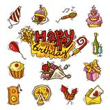 Birthday sketch color icon set Stock Photos