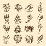 Birthday sketch icon set Royalty Free Stock Photos