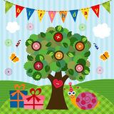 Birthday snail under the tree Stock Image