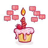 Birthday, social networks, cupcake with a candle and strawberries and greeting icons of friends in social networks royalty free illustration