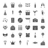 Birthday Solid Web Icons. Vector Set of Celebration and Party Glyphs Stock Images