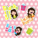 Birthday Sticker set with cute girls and birthday gifts on polka dot background    Stock Image