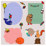 Birthday stickers collection with funny animals Royalty Free Stock Images